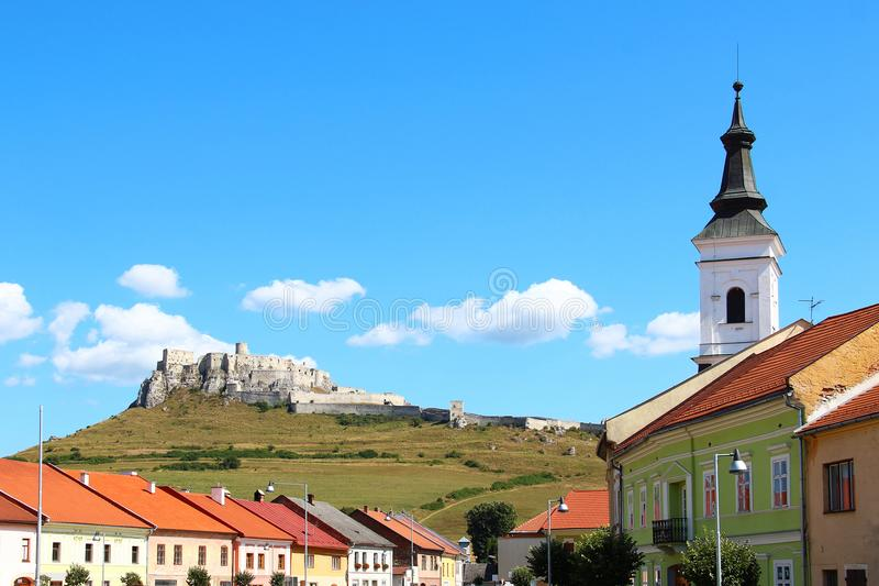 Spisske Podhradie and Spis Castle, Slovakia. Spisske Podhradie town and Spis Castle Spissky hrad, Slovakia royalty free stock image