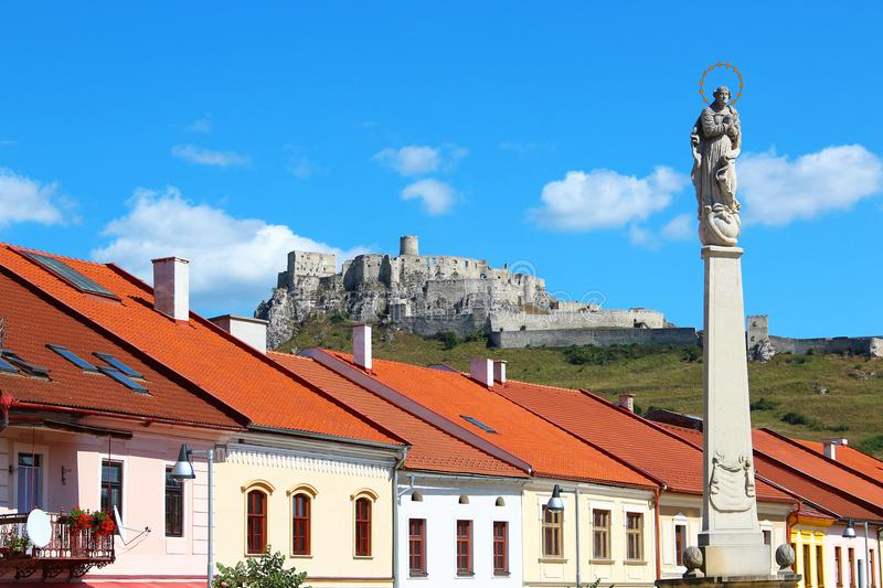 Spisske Podhradie and Spis Castle, Slovakia. Spisske Podhradie town and Spis Castle Spissky hrad, Slovakia royalty free stock photography