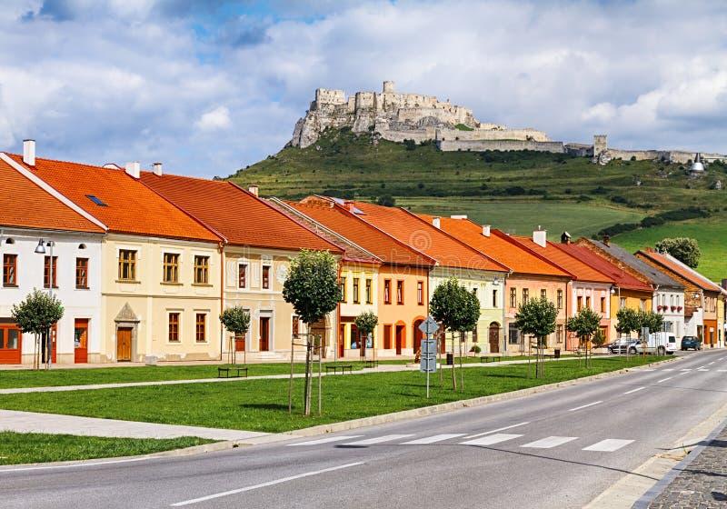 Spisske Podhradie. With Spis Hrad above, Slovakia royalty free stock photo