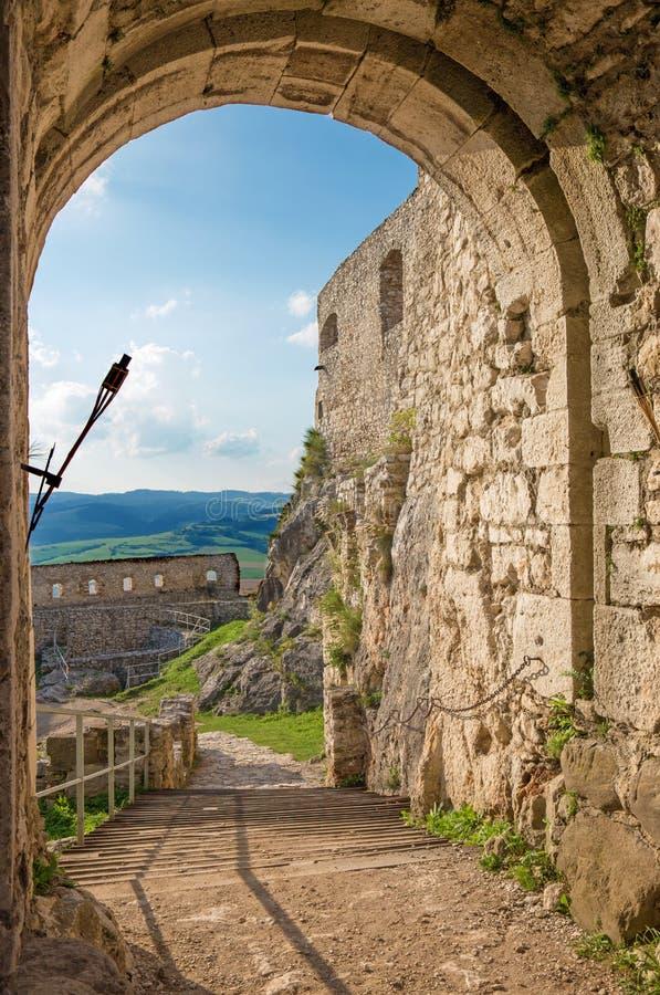 Spissky城堡-横跨门看到中间庭院 免版税库存图片