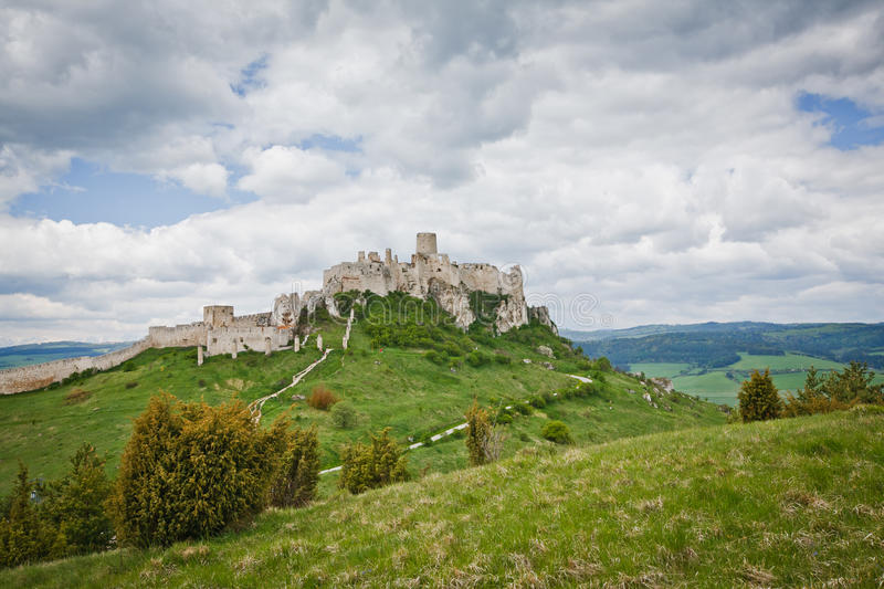 Spissky hrad castle in Slovakia stock photography