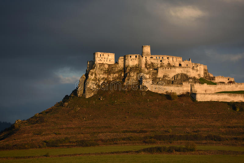 Spissky hrad, UNESCO, Slovakien royaltyfria foton