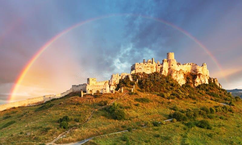 Spissky slott, Slovakien arkivbild