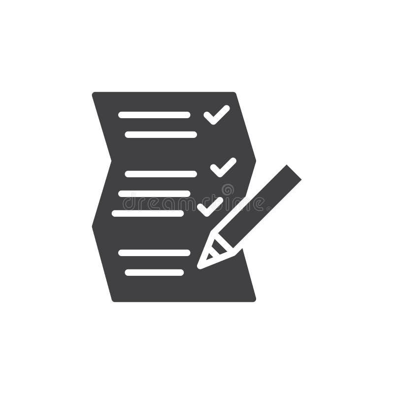 Spisuje papierowego i ołówkowego ikona wektor, wypełniający mieszkanie znak, stały piktogram odizolowywający na bielu ilustracja wektor