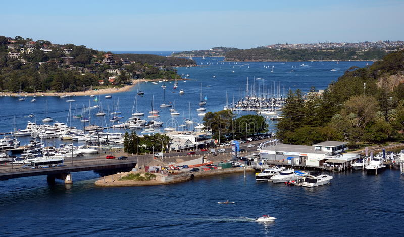 The Spit, Spit bridge, moored yachts stock photo