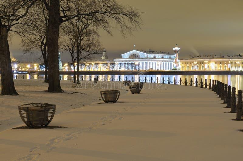Spit van Vasilyevsky Island Nieuwjaar` s St. Petersburg Rusland royalty-vrije stock fotografie