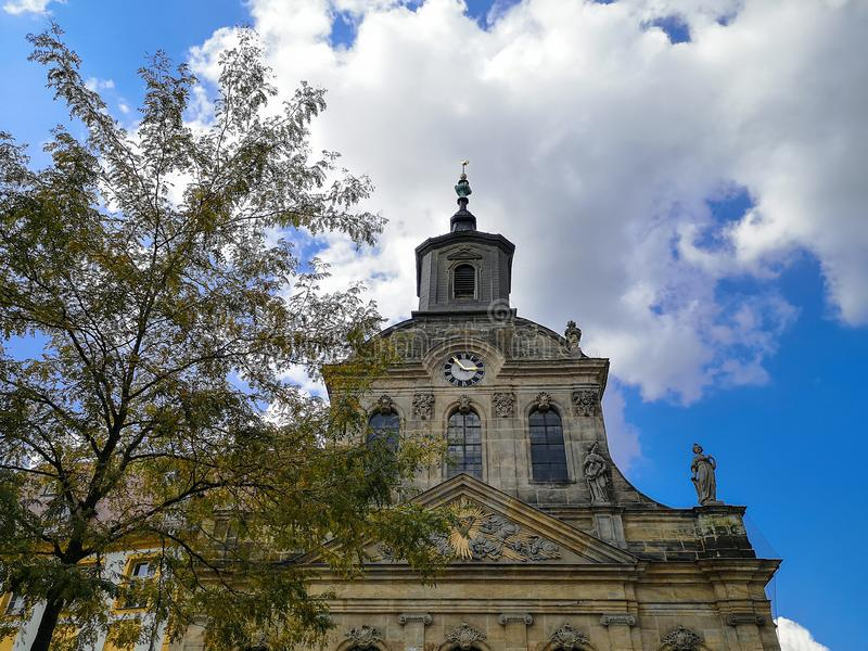 Spitalkirche on the market square in the old town of Bayreuth royalty free stock photo
