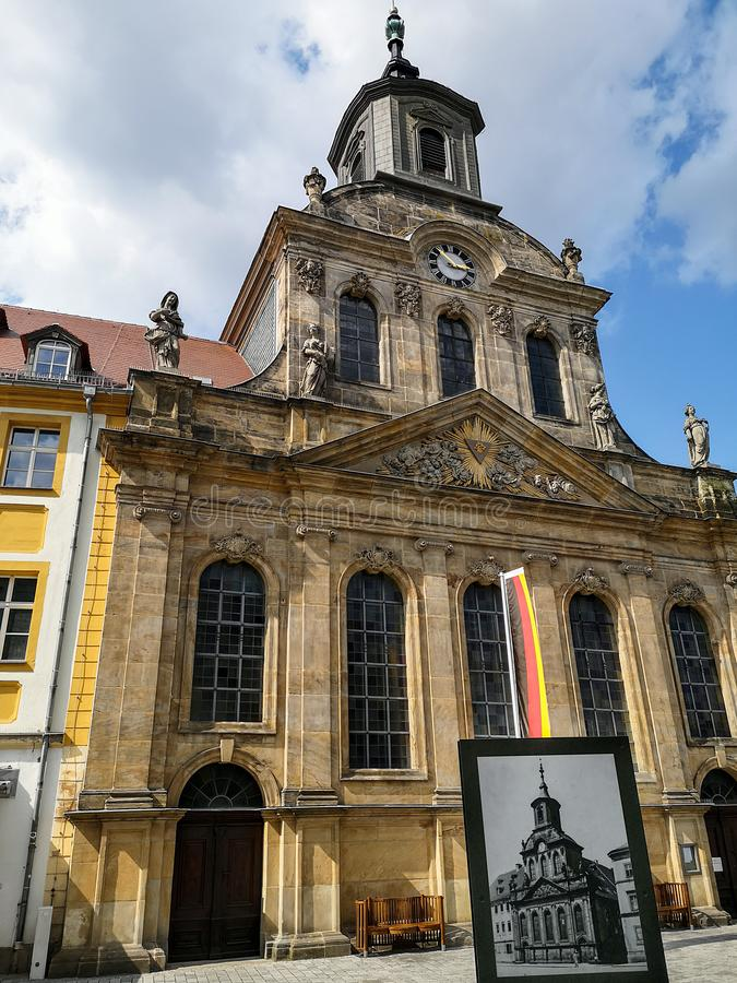 Spitalkirche on the market square in the old town of Bayreuth royalty free stock images