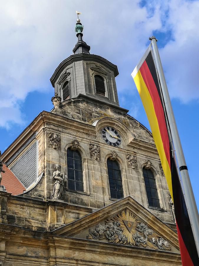 Spitalkirche on the market square in the old town of Bayreuth stock images