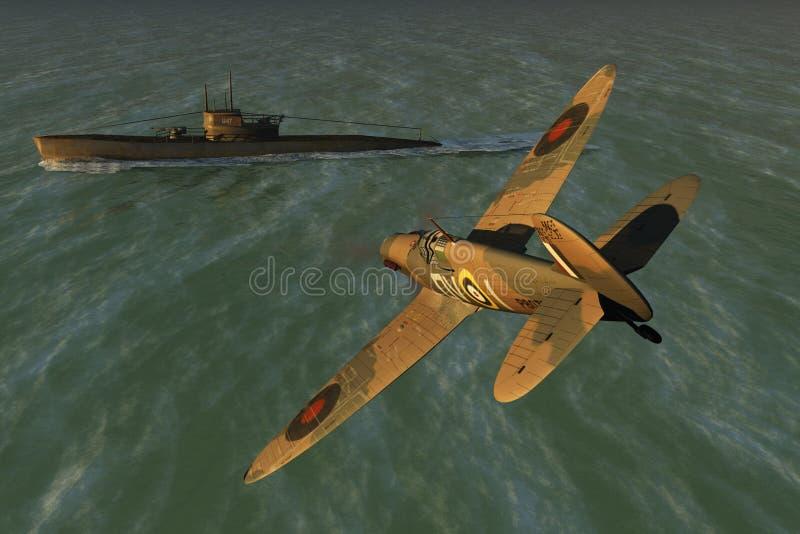 Spitfire e U-barca royalty illustrazione gratis