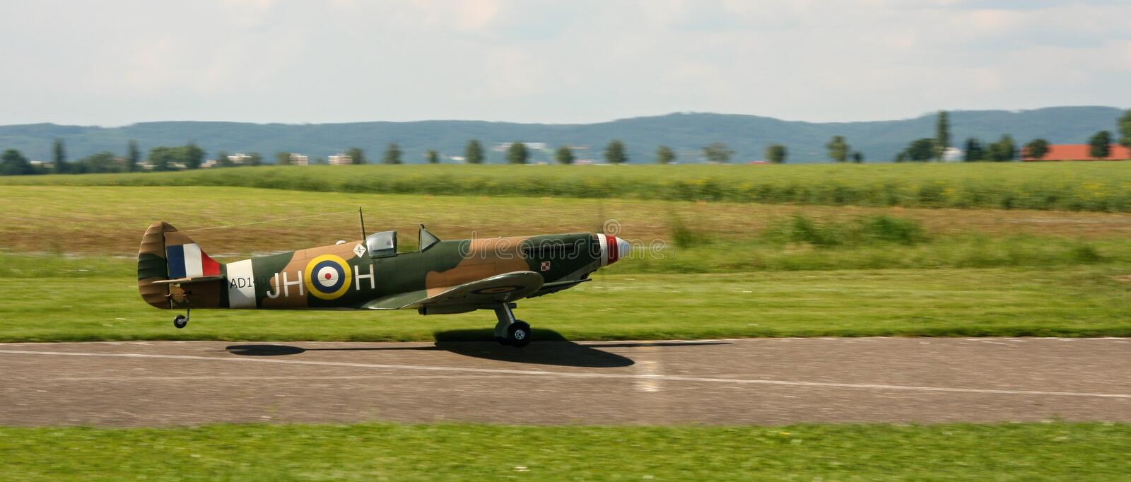 Spitfire landing royalty free stock photo