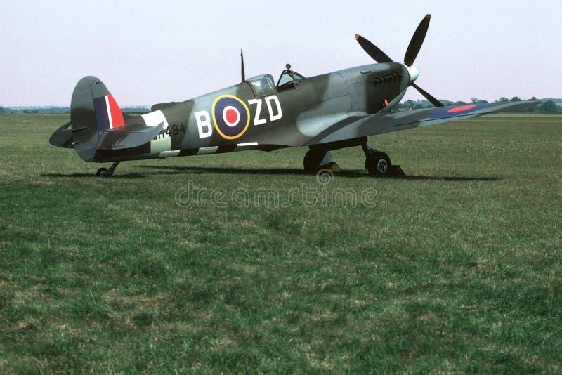 Spitfire Parked on Grass stock image
