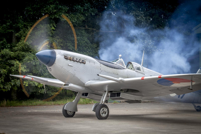 Spitfire starting its engine stock image