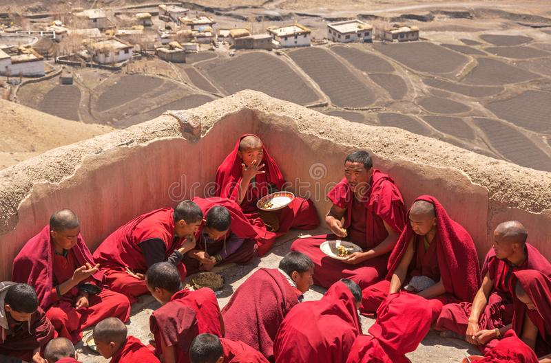 Young Monks Tibetan Buddhism Spiti stock images