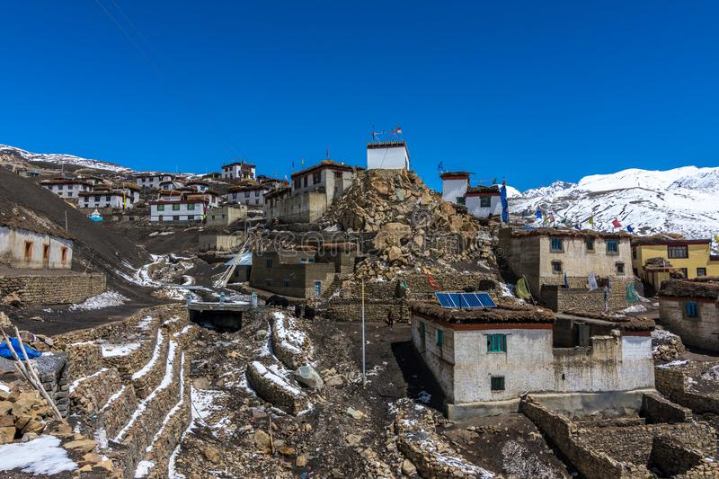 Demul Village - Landscape of Spiti Valley, Himachal Pradesh, India / The Middle Land / Cold Desert. Spiti Valley is a cold desert mountain valley located high in royalty free stock image
