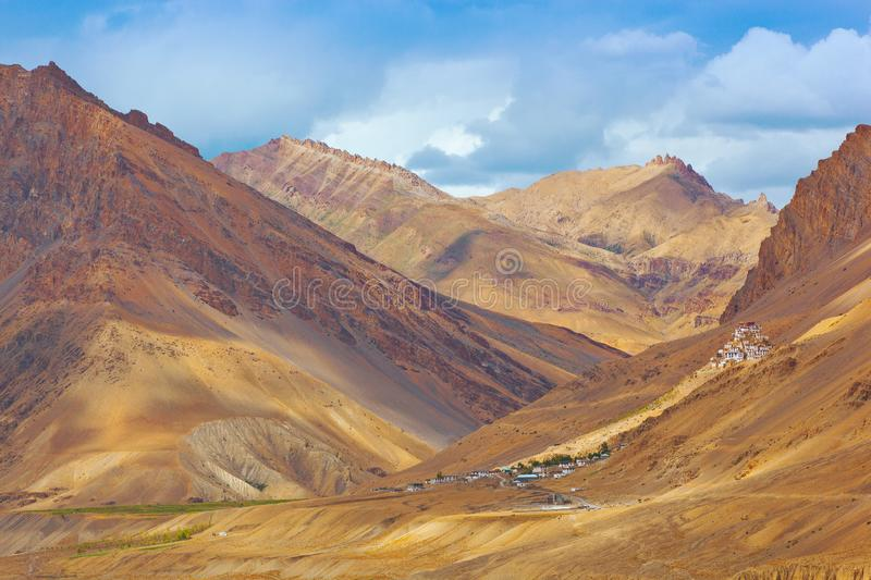 Spiti valley - view to ancient buddhist monastery Key Gompa stock photo