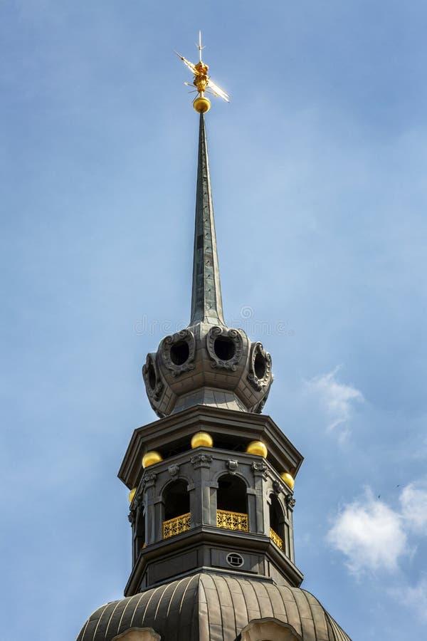 Spits van de Kapel van Dresden Mooie architectuur van de oude stad Close-up stock foto's