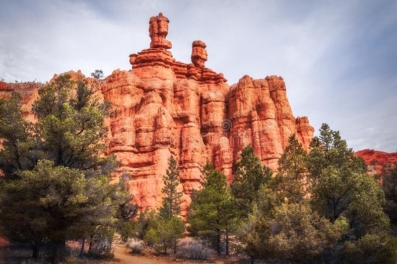 Spitsen en rotsvormingen bij Rode Canion, Dixie National Forest, Utah royalty-vrije stock foto