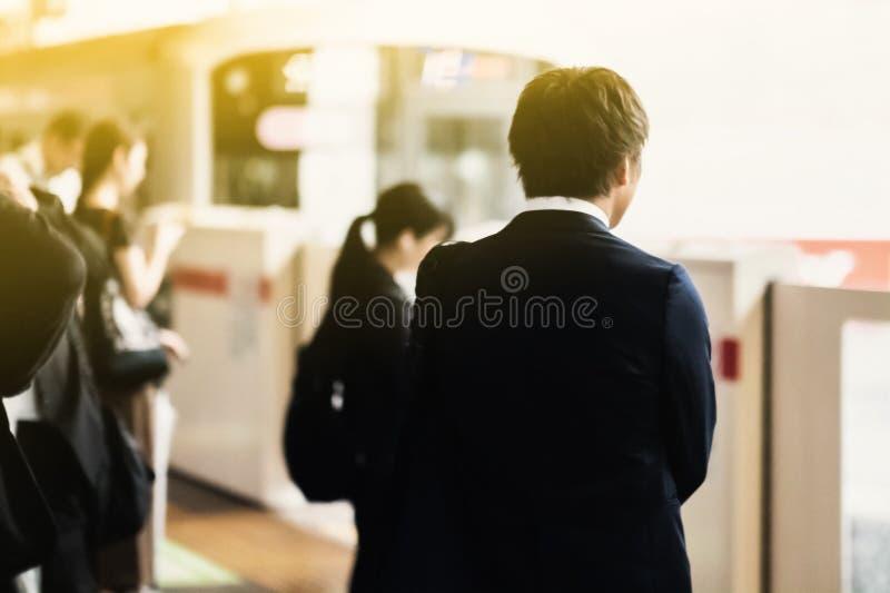 Spitsuur in Tokyo stock afbeeldingen