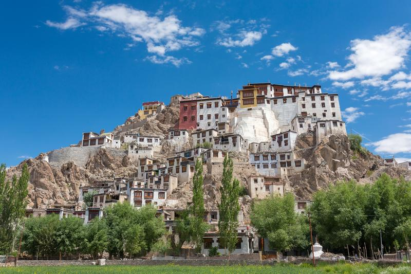 Spituk Monastery with view of Himalayas mountains. Spituk Gompa is a famous Buddhist temple in Ladakh royalty free stock images
