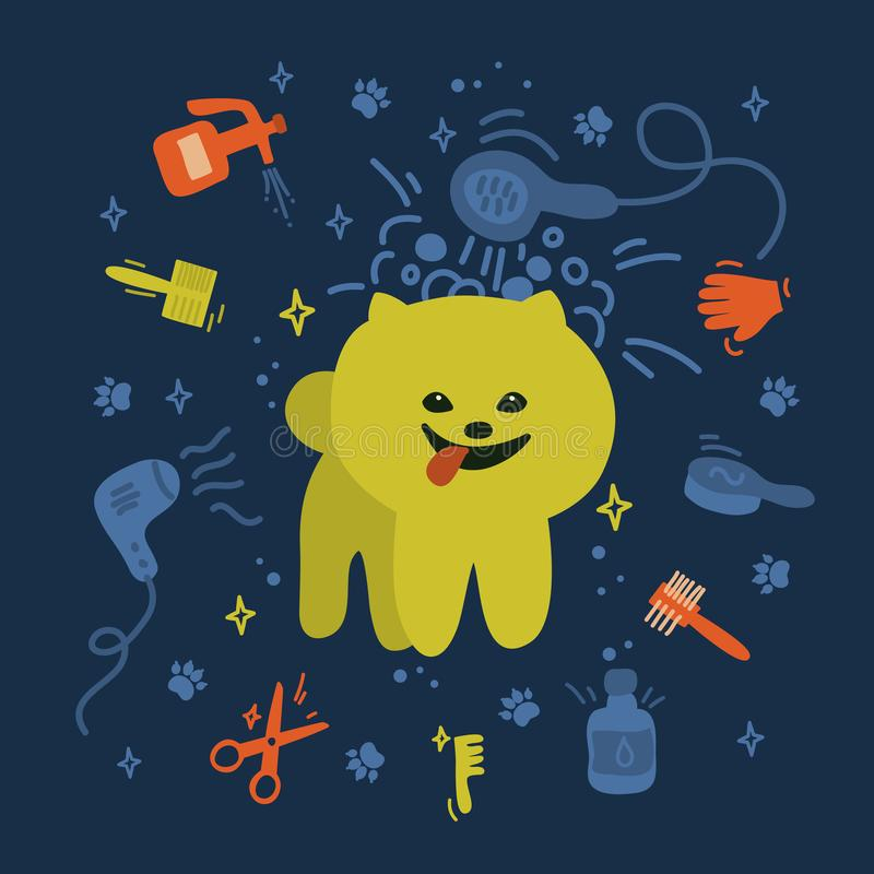 Spitz με προσοχή εργαλεία Χαριτωμένη αφίσα για την υπηρεσία πλυσίματος σκυλιών διανυσματική απεικόνιση