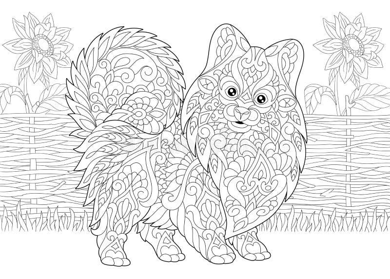 Spitz e girasoli pomeranian di Zentangle illustrazione vettoriale