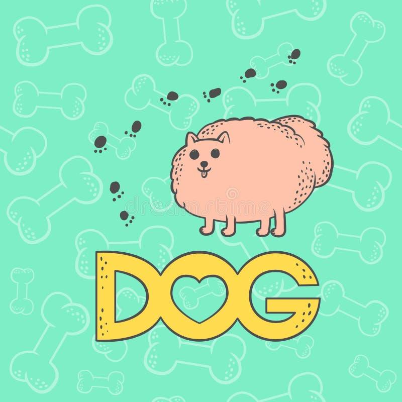 Spitz mignon de chien de vecteur Caractère rond hirsute d'animal familier de bande dessinée animale plate drôle de caricature Col illustration de vecteur