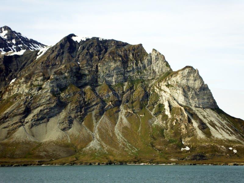 Spitzbergen,挪威剧烈的火山的地质  免版税库存图片