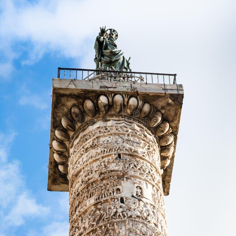 Spitze der Spalte von Marcus-aurelius in Rom-Stadt lizenzfreies stockfoto