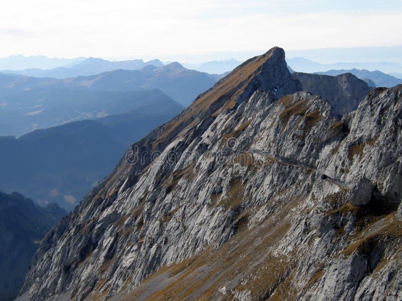 Spitze des Bergs Pilatus stockfotografie
