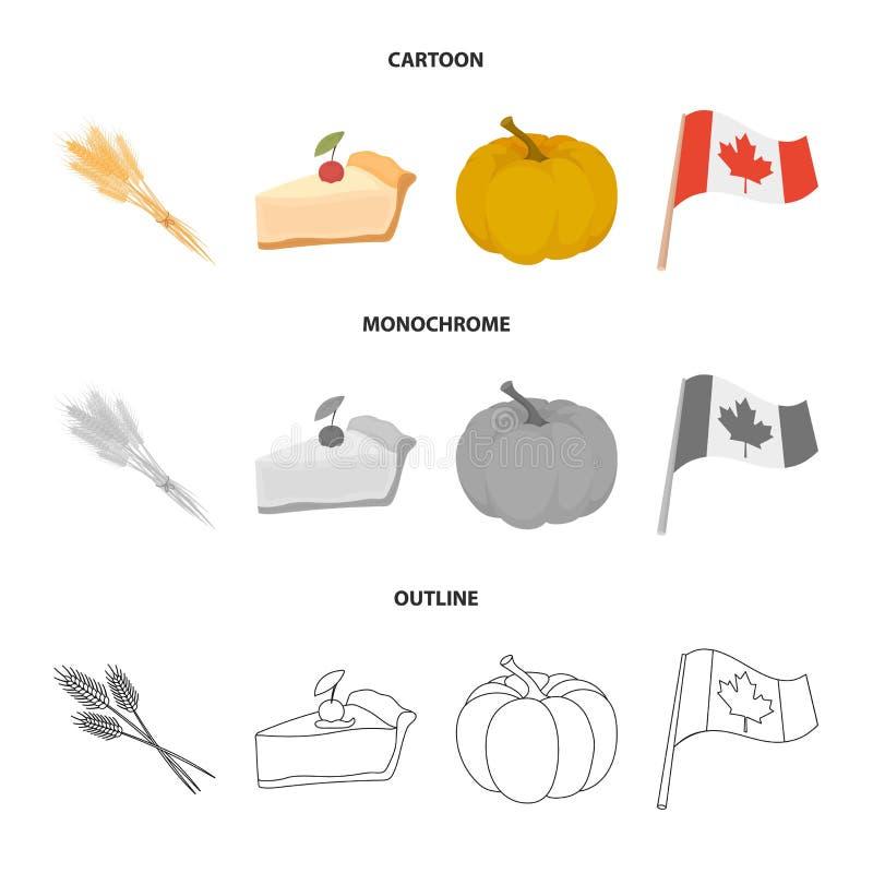 Spitze des Weizens, ein Stück der Torte mit Moosbeeren, Kürbis, Staatsflagge Kanada-Danksagungstagesgesetzte Sammlungsikonen here stock abbildung