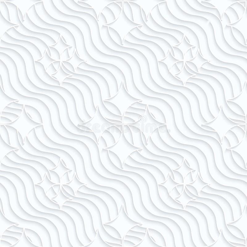 Spitze Diamanten des Weißbuches der Rüschen auf Wellen vektor abbildung