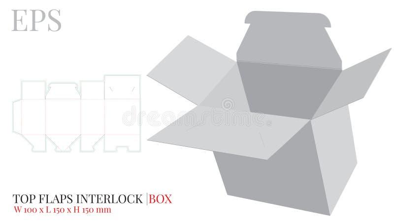 Spitze flattert Inter- Verschluss Kasten-Schablone, Vektor mit gestempelschnitten/Laser schnitt Schichten Weiß, klar, freier Raum stock abbildung