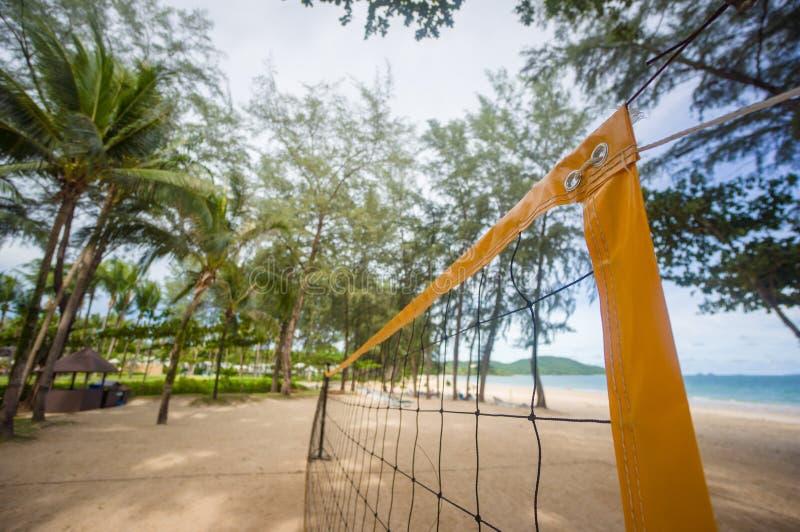 Spitze gelben voleyball Netzes auf Strand unter Palmen lizenzfreie stockfotografie