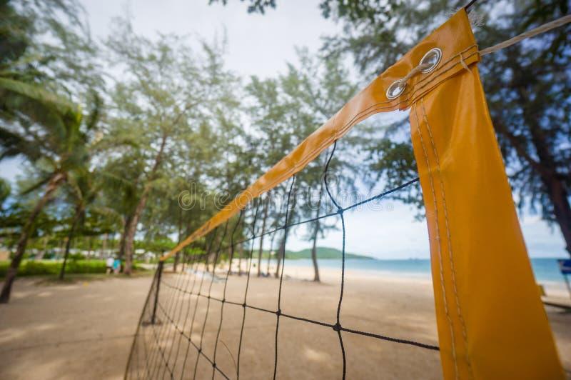 Spitze gelben voleyball Netzes auf Strand unter Palmen stockbild