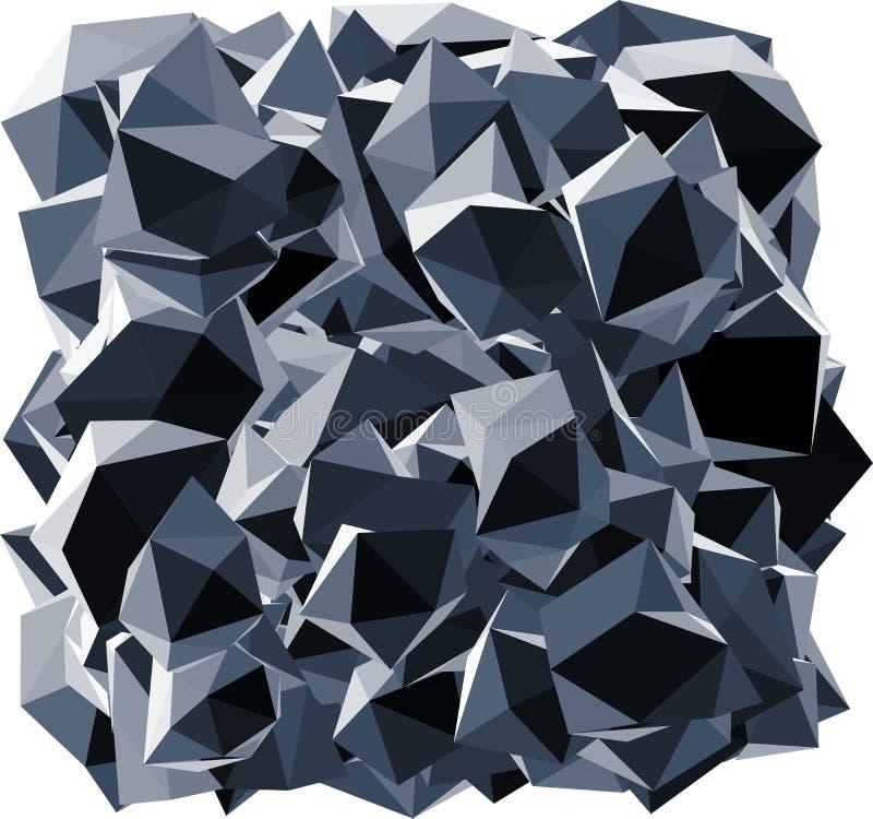 Spitze schwarze abstrakte Kristallform auf Weiß lizenzfreie abbildung