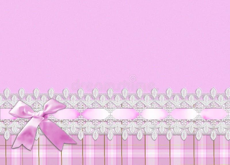 Spitze und rosafarbener Farbband-Rand vektor abbildung