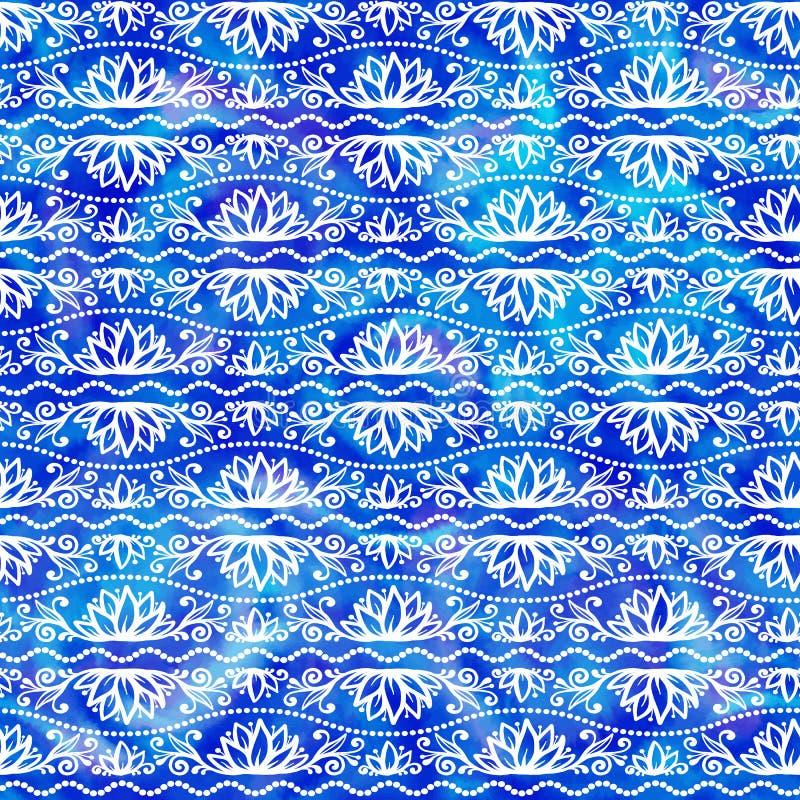Spitzen- Blumenverzierung des weißen Gekritzels auf nahtlosem Muster des blauen Aquarellvektors lizenzfreie abbildung