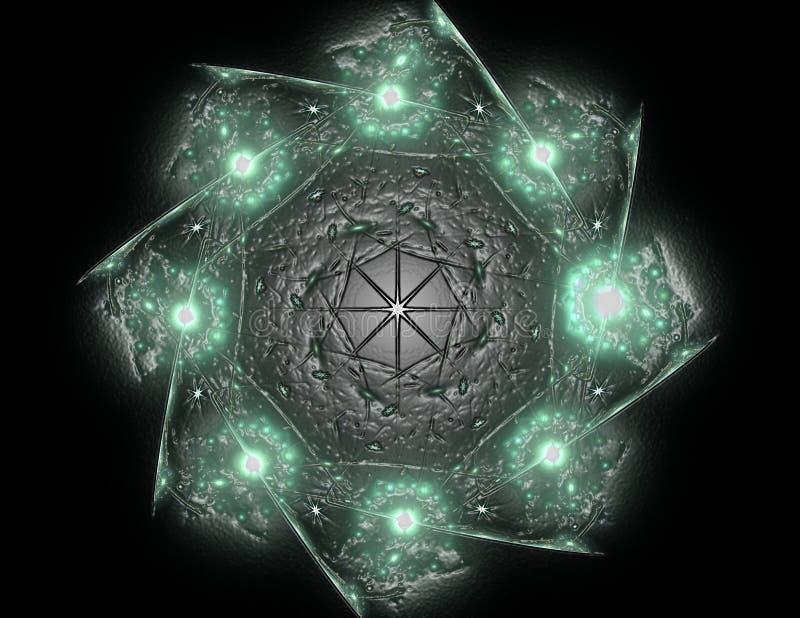 Spitzen- buntes Uhrwerkmuster Digital-Fractalkunstdesign Abstraktes Design der heiligen Symbolzeichengeometrie vektor abbildung