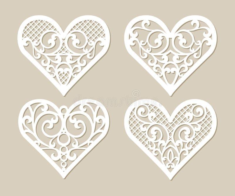 Spitzen- Herzen der gesetzten Schablone mit geschnitztem openwork Muster vektor abbildung