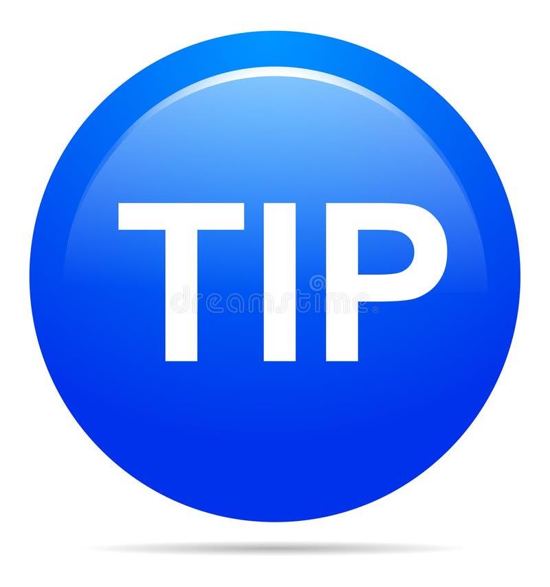 Spitzen Sie blaue runde Knopfhilfe und Vorschlagskonzept stock abbildung