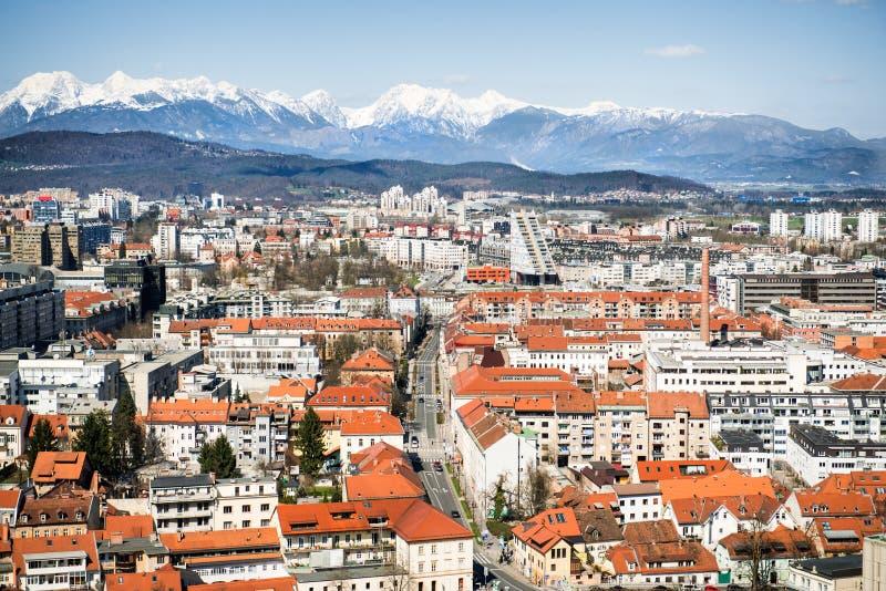 Spitzen-viev zu Ljubljana-Stadt, die Hauptstadt von Slowenien lizenzfreie stockfotografie