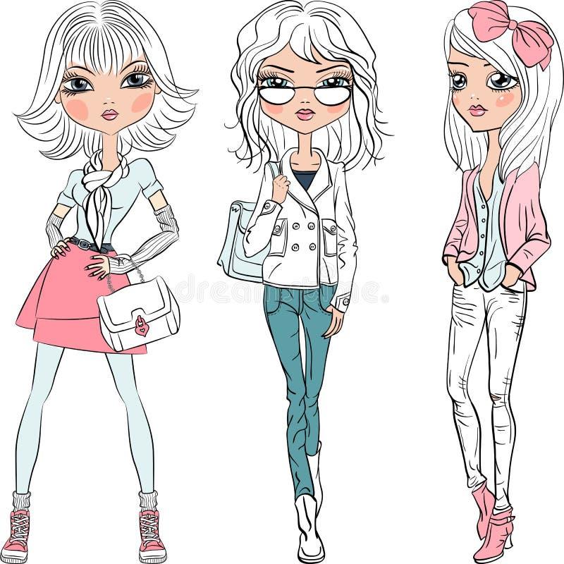 Spitzenbaumuster vektorder schönen Mode-Mädchen lizenzfreie abbildung