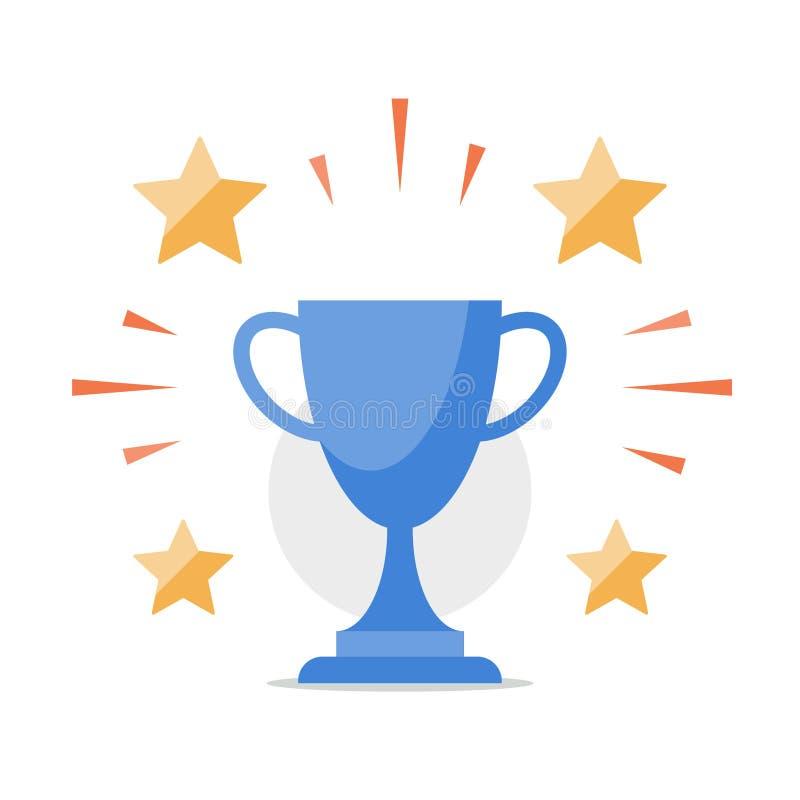 Spitzenergebnis, glänzende Trophäe, Belohnungsprogramm, Spielsieger, beste Leistung, Siegerehrung, Erstplatz- Cup, hohe Ergebnisl vektor abbildung