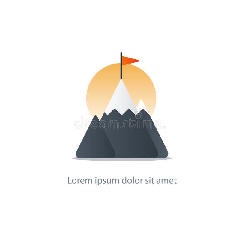 Spitzenleistung, Bergspitzeikone, große Herausforderung, Sicherheitskonzept stock abbildung