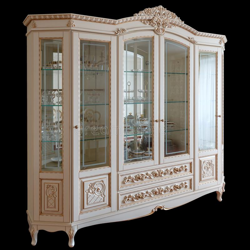 Spitzenluxusmöbel zeitgenössische Wohnzimmermöbel der Garderobe in der klassischen Art weißer Baum mit Goldordnung stockfotos