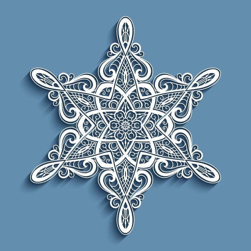 Spitzenpapier Doily, Spitzen- Schneeflockenverzierung stock abbildung