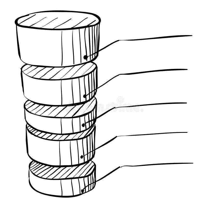 Spitzes Diagramm infographics, Hand gezeichnete Art stock abbildung
