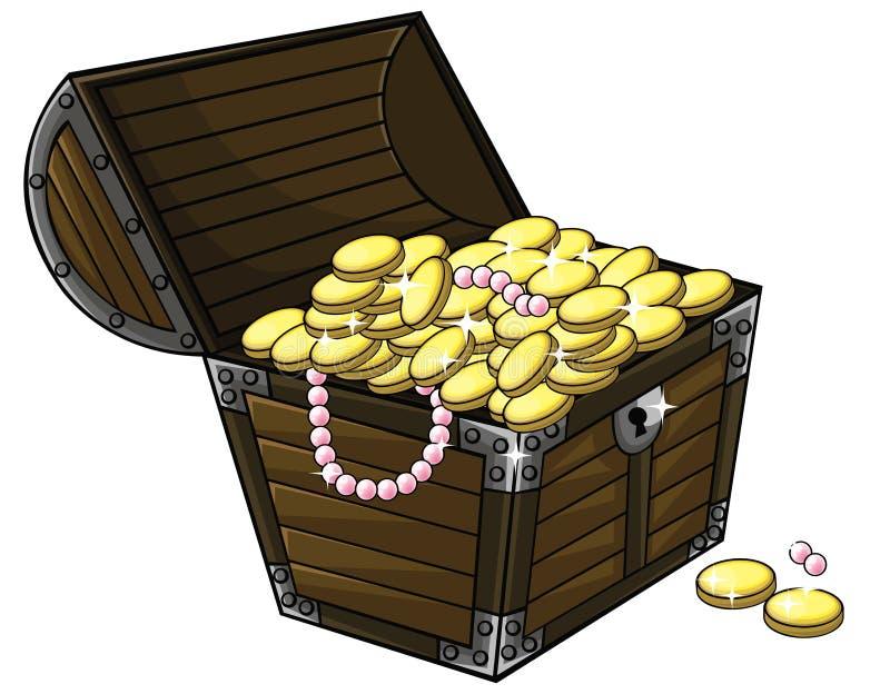Spjällåda för tecknad filmskattbröstkorg med guld- mynt och den pärlemorfärg halsbandet royaltyfri illustrationer