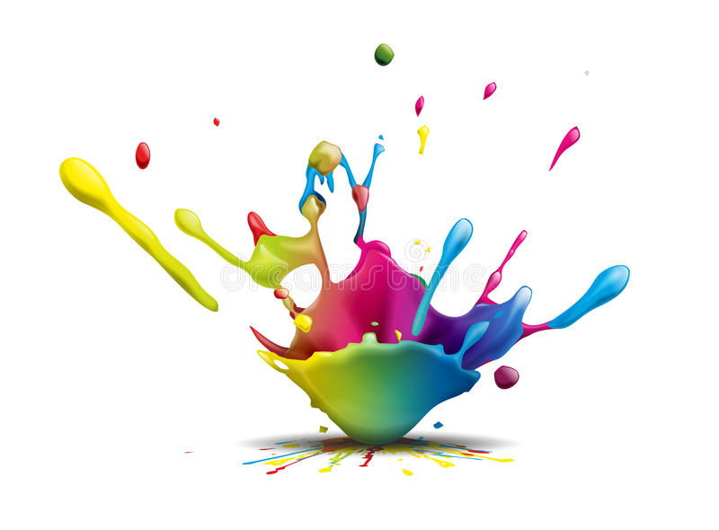 Splash. Abstract illustration of a colorful ink splash stock illustration